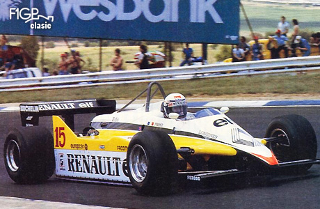 """Alain Prost (Renault) realizează unul din tururile sale """"agresive""""."""